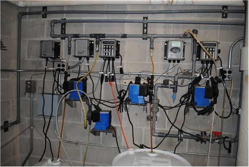 Pumps and controllers installed in a chiller plant.